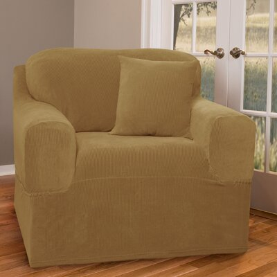 Collin Stretch One Piece Armchair Slipcover Upholstery: Gold Camel