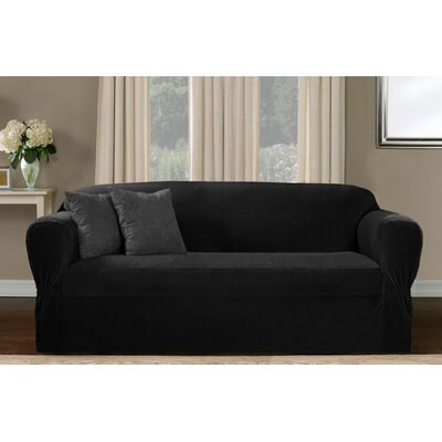 One Piece Box Cushion Sofa Slipcover Upholstery: Black