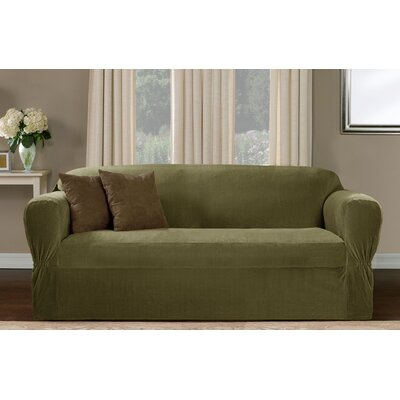 One Piece Box Cushion Loveseat Slipcover Upholstery: Moss Green
