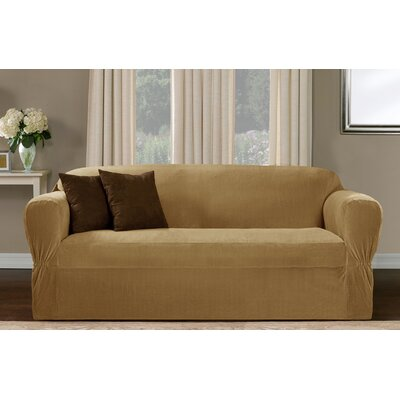 Collin Stretch One Piece Loveseat Slipcover Upholstery: Gold Camel