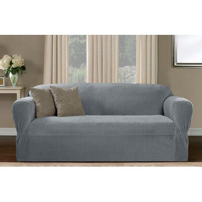 One Piece Box Cushion Loveseat Slipcover Upholstery: Blue Smoke