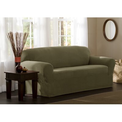 Reeves Stretch Box Cushion Loveseat Slipcover Upholstery: Dark Sage
