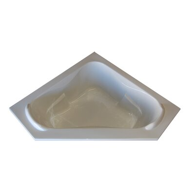 60 x 60 Corner Whirlpool Tub with Raised Headrest Finish: White, Motor Location: Right