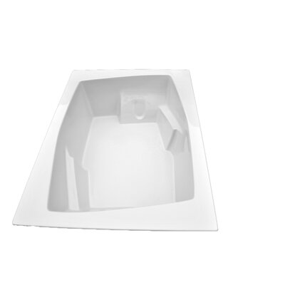 72 x 54 Arm-Rest Soaking Tub Finish: White, Drain Location: Right