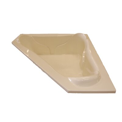 72 x 72 Massage Corner Salon Spa Soaking Tub Finish: Bone, Motor Location: Left