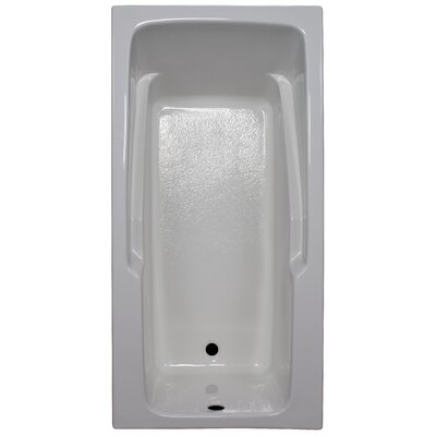 60 x 30 Soaker Armrest Bathtub Finish: White, Tile Flange: No