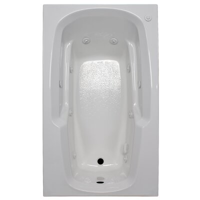 60 x 36 Arm-Rest Whirlpool Tub Finish: White, Drain Location: Right