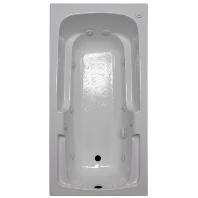 60 x 30 Arm-Rest Whirlpool Tub Finish: White, Drain Location: Right
