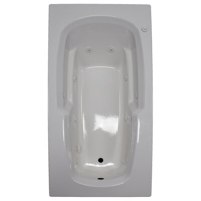 72 x 36 Armrest Whirlpool Tub Finish: White, Drain Location: Right