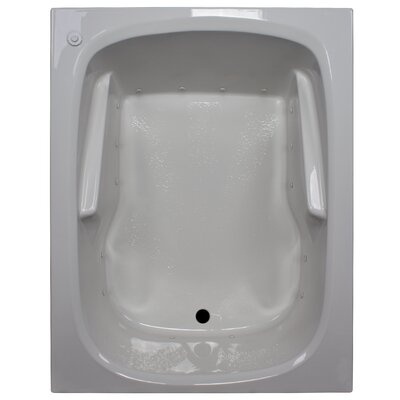 60 x 48 Arm-Rest Soaking Tub Finish: White, Drain Location: Left