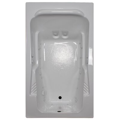 71 x 41 Arm-Rest Salon Spa Soaking Tub Finish: White, Drain Location: Right