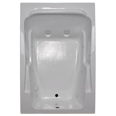 72 x 48 Arm-Rest Soaking Tub Finish: White, Drain Location: Right