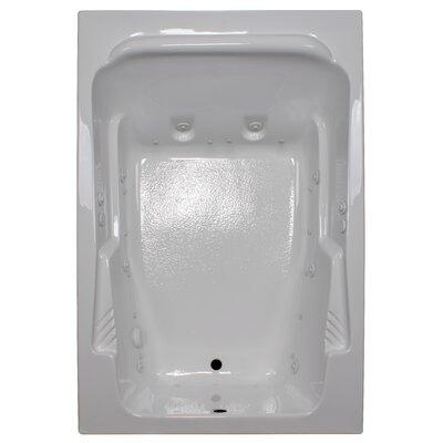 72 x 48 Arm-Rest Salon Spa Soaking Tub Finish: White, Drain Location: Right