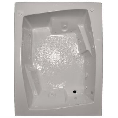 72 x 54 Arm-Rest Salon Spa Soaking Tub Finish: Biscuit, Drain Location: Left