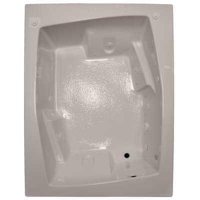 72 x 54 Arm-Rest Salon Spa Soaking Tub Finish: Bone, Drain Location: Right