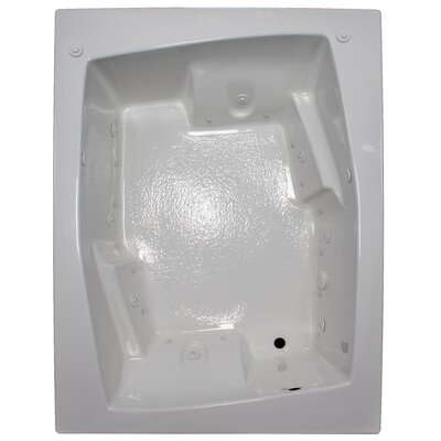72 x 54 Arm-Rest Salon Spa Soaking Tub Finish: White, Drain Location: Right