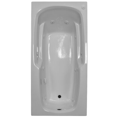 66 x 32 Arm-Rest Soaking Tub Finish: White, Drain Location: Right