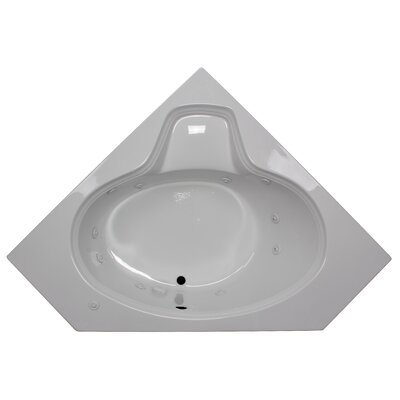 60 x 60 Corner Oval Whirlpool Tub Finish: White, Motor Location: Left
