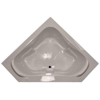 60 x 60 Corner Whirlpool Tub with Raised Headrest Finish: Bone, Motor Location: Right
