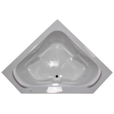 60 x 60 Corner Whirlpool Tub with Raised Headrest Finish: White, Motor Location: Right