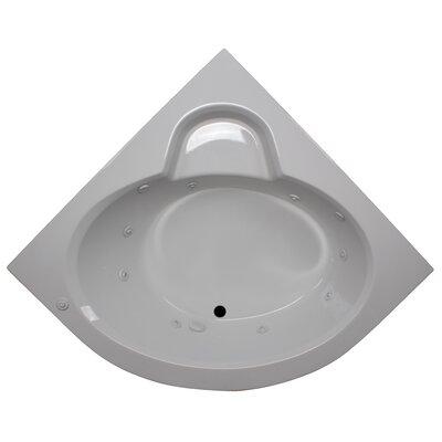 60 x 60 Round Front Corner Soaking Tub Finish: White, Motor Location: Left