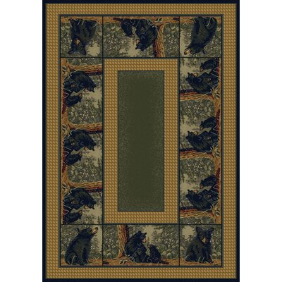Hautman Bear Family Blue/Gold Area Rug Rug Size: 110 x 3
