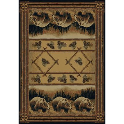 Hautman Grizzly Pines Lodge Brown Area Rug Rug Size: 53 x 76