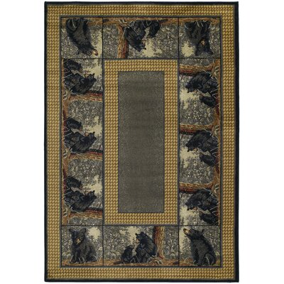 Hautman Bear Family Blue/Gold Area Rug Rug Size: Runner 111 x 74