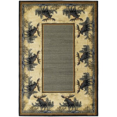 Hautman Northwood Moose Beige/Blue Area Rug Rug Size: 53 x 76
