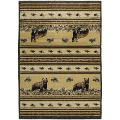 Marshfield Pine Creek Bear Novelty Area Rug Rug Size: 53 x 76