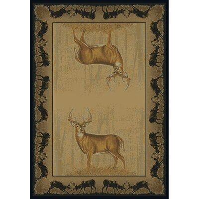 Buckwear Believe Deer Lodge Beige Novelty Rug Rug Size: 53 x 76