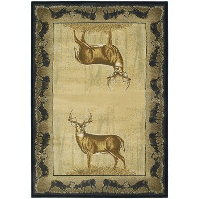 Buckwear Believe Deer Lodge Beige Novelty Rug Rug Size: Runner 111 x 74