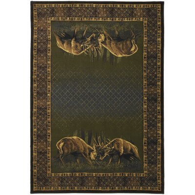 Buckwear Winner Takes All Lodge Green and Brown Novelty Rug Rug Size: 53 x 76