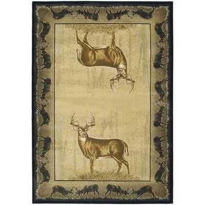 Buckwear Believe Deer Lodge Beige Novelty Rug Rug Size: 110 x 3