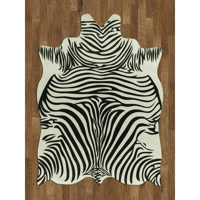 Animal Hide White/Black Zebra Area Rug Rug Size: 5 x 7