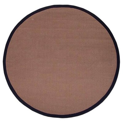 Sisal Hand-Woven Natural/Black Area Rug Rug Size: Round 6