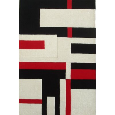 Modern Cool Red/White Area Rug Rug Size: 5 x 8