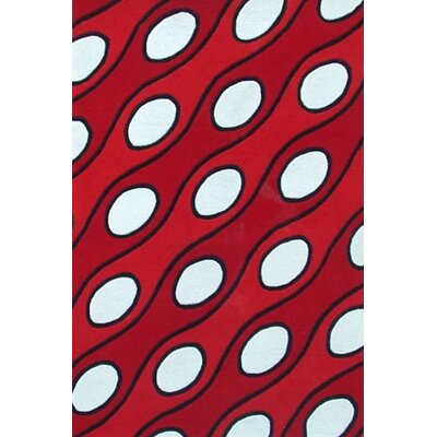 Modern Curve Red/White Area Rug Rug Size: 5 x 8
