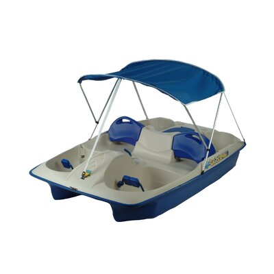 Image of KL Industries Sun Slider Five Person Pedal Boat with Adjustable Seats and Canopy Color: Cream/Blue (72141)
