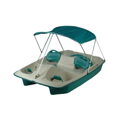 Image of KL Industries Sun Slider Five Person Pedal Boat with Adjustable Seats and Canopy Color: Cream/Teal (72143)