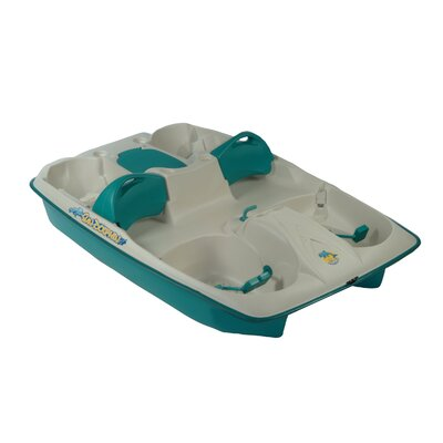 Image of KL Industries Sun Slider Five Person Pedal Boat with Adjustable Seats in Cream / Teal (61143)
