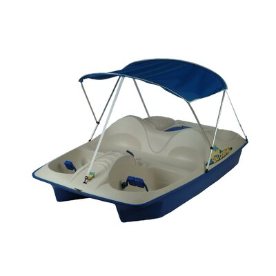 Image of KL Industries Sun Dolphin Five Person Pedal Boat with Canopy Color: Cream/Teal (71553)