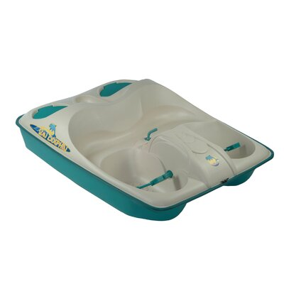 Image of KL Industries Sun Dolphin Three Person Pedal Boat in Cream / Teal with Stainless Steel Package (31333)