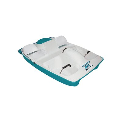 Image of KL Industries Water Wheeler ASL Five Person Pedal Boat with Adjustable Seats and Canopy in Cream / Teal (WWLAQ04)