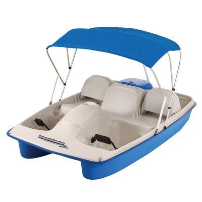 KL Industries Water Wheeler ASL Five Person Pedal Boat with Adjustable Seats and Canopy in Cream / Blue - Addition: No Stainless Steel at Sears.com