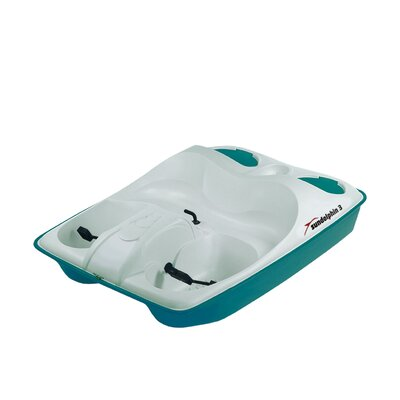 KL Industries Sun Dolphin Three Person Pedal Boat in Cream / Teal with Stainless Steel Package at Sears.com