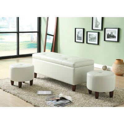 Ibrahim 3 Piece Storage Bench and Ottoman