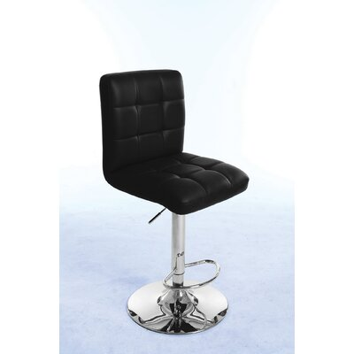 Gaylord Adjustable Height Swivel Bar Stool Upholstery Color: Black