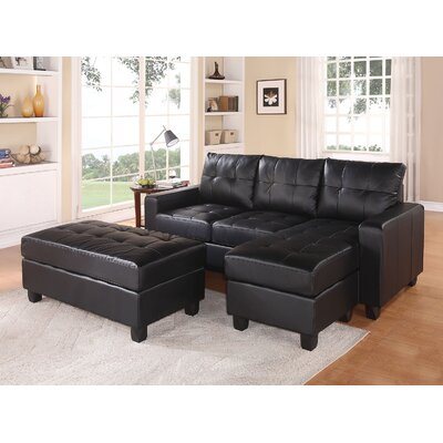 Lyssa Reversible Sectional with Ottoman Upholstery: Black