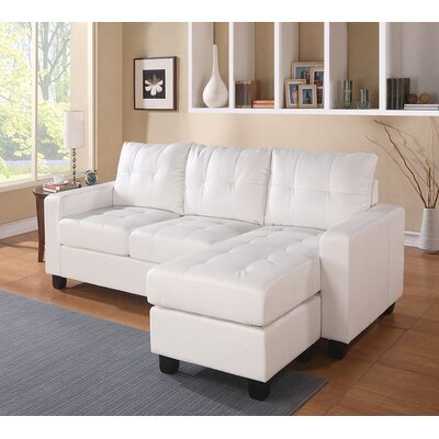 Lyssa Reversible Sectional Upholstery: White